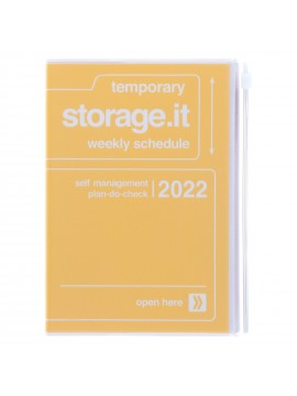 Diary 2022 B6 Vertical Type Zipped Recycled Cover 16 hours Yellow - Storage.it Mark's