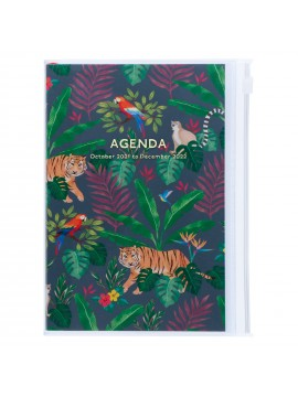 Diary 2022 B6 Vertical Type Zipped Recycled Cover 16 hours Black - Jungle Mark's