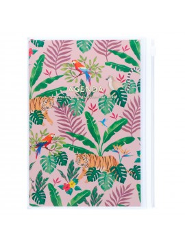 Diary 2022 B6 Vertical Type Zipped Recycled Cover 16 hours Pink - Jungle Mark's