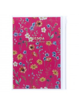Diary 2022 B6 Vertical Type Zipped Recycled Cover 16 hours Magenta - Flower Mark's