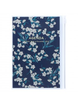 Diary 2022 B6 Vertical Type Zipped Recycled Cover 16 hours Navy - Flower Mark's