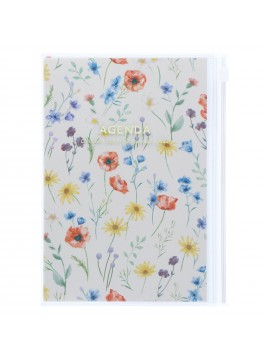 Diary 2022 B6 Vertical Type Zipped Recycled Cover 16 hours Ivory - Flower Mark's