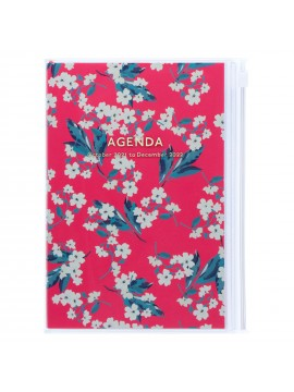Diary 2022 B6 Vertical Type Zipped Recycled Cover 16 hours Pink - Flower Mark's