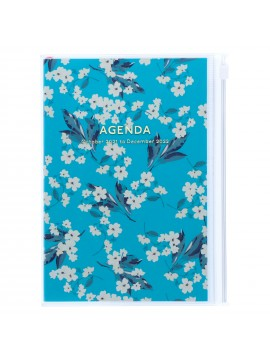 Diary 2022 B6 Vertical Type Zipped Recycled Cover 16 hours Turquoise - Flower Mark's