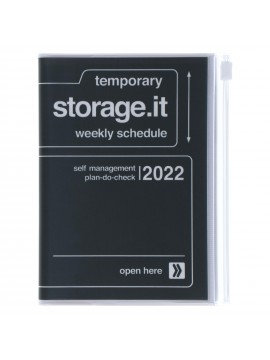 Diary 2022 A6 Vertical Type Zipped Recycled Cover 16 hours Noir - Storage.it Mark's