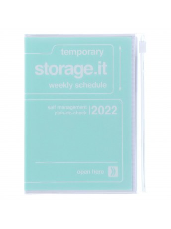 Diary 2022 A6 Vertical Type Zipped Recycled Cover 16 hours Mint - Storage.it Mark's