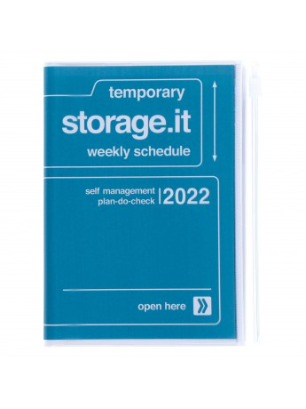 Diary 2022 A6 Vertical Type Zipped Recycled Cover 16 hours Navy - Storage.it Mark's