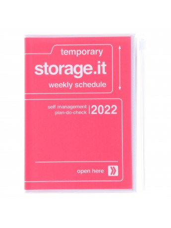 Diary 2022 A6 Vertical Type Zipped Recycled Cover 16 hours Pink - Storage.it Mark's