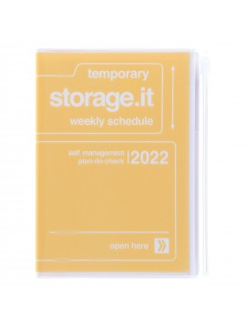 Diary 2022 A6 Vertical Type Zipped Recycled Cover 16 hours Yellow - Storage.it Mark's