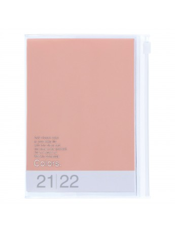 Diary 2022 A6 Vertical Type Zipped Recycled Cover 16 hours Pink - Colors Mark's