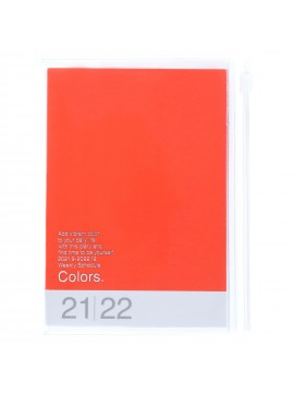 Diary 2022 A6 Vertical Type Zipped Recycled Cover 16 hours Orange - Colors Mark's