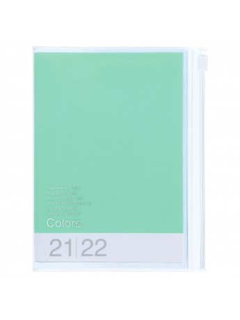 Diary 2022 A6 Vertical Type Zipped Recycled Cover 16 hours Mint - Colors Mark's