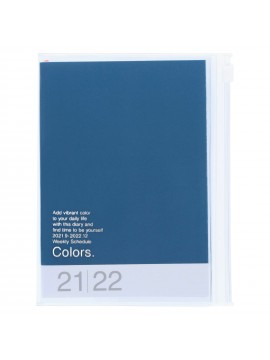 Diary 2022 A6 Vertical Type Zipped Recycled Cover 16 hours Blue - Colors Mark's