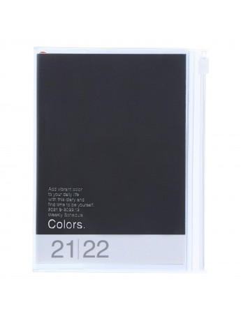 Diary 2022 A6 Vertical Type Zipped Recycled Cover 16 hours Black - Colors Mark's