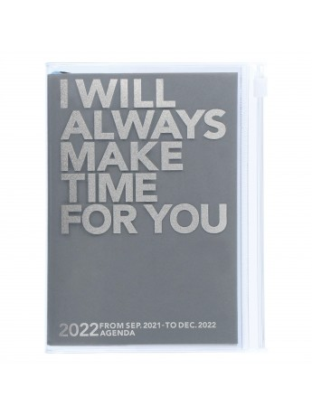 Diary 2022 A6 Vertical Type Zipped Recycled Cover 16 hours Gray - Make time Mark's