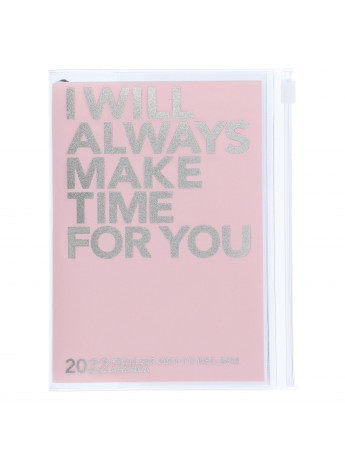 Diary 2022 A6 Vertical Type Zipped Recycled Cover 16 hours Pink - Make time Mark's