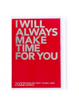 Diary 2022 A6 Vertical Type Zipped Recycled Cover 16 hours Red - Make time Mark's