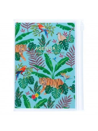 Diary 2022 A6 Vertical Type Zipped Recycled Cover 16 hours Turquoise - Jungle Mark's