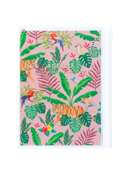 Diary 2022 A6 Vertical Type Zipped Recycled Cover 16 hours Pink - Jungle Mark's