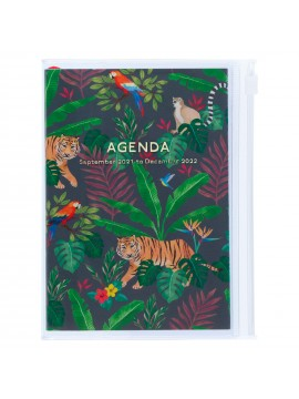 Diary 2022 A6 Vertical Type Zipped Recycled Cover 16 hours Black - Jungle Mark's