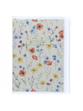 Diary 2022 A6 Vertical Type Zipped Recycled Cover 16 hours Ivory - Fmower Mark's