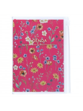Diary 2022 A6 Vertical Type Zipped Recycled Cover 16 hours Magenta - Fmower Mark's