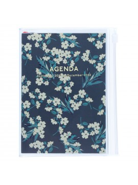 Diary 2022 A6 Vertical Type Zipped Recycled Cover 16 hours Navy - Fmower Mark's