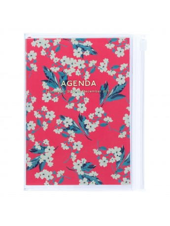 Diary 2022 A6 Vertical Type Zipped Recycled Cover 16 hours Pink - Fmower Mark's