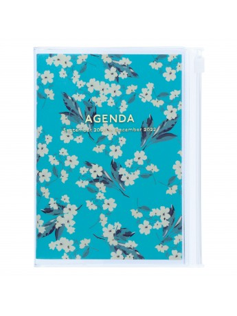Diary 2022 A6 Vertical Type Zipped Recycled Cover 16 hours Turquoise - Fmower Mark's