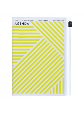Diary 2022 A6 Vertical Type Zipped Recycled Cover 16 hours Yellow - Geometric Mark's