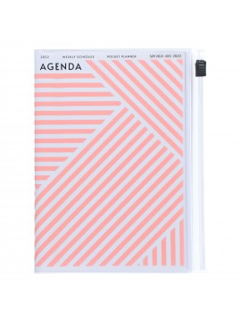 Diary 2022 A6 Vertical Type Zipped Recycled Cover 16 hours Pink - Geometric Mark's