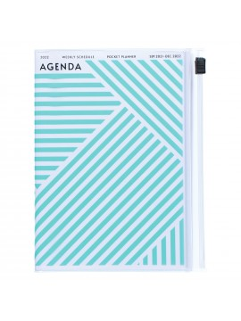 Diary 2022 A6 Vertical Type Zipped Recycled Cover 16 hours Mint - Geometric Mark's