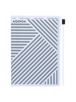 Diary 2022 A6 Vertical Type Zipped Recycled Cover 16 hours Gray - Geometric Mark's