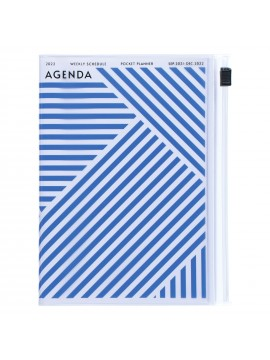 Diary 2022 A6 Vertical Type Zipped Recycled Cover 16 hours Blue - Geometric Mark's