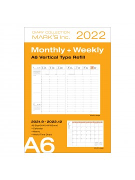 2022 Compact A6 Type Vertical Agenda Refill 16H Time Base - Mark's