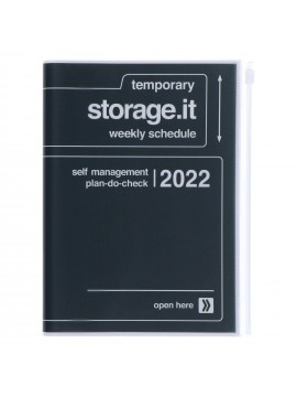 Diary 2022 A5 Vertical Type Zipped Recycled Cover 16 hours Black - Storage.it Mark's