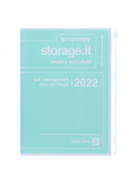 Diary 2022 A5 Vertical Type Zipped Recycled Cover 16 hours Mint - Storage.it Mark's
