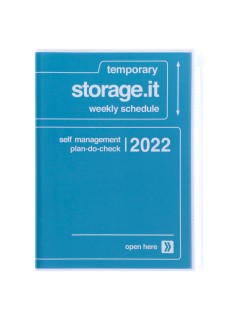 Diary 2022 A5 Vertical Type Zipped Recycled Cover 16 hours Navy - Storage.it Mark's