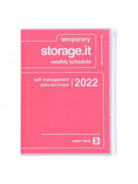 Diary 2022 A5 Vertical Type Zipped Recycled Cover 16 hours Pink - Storage.it Mark's