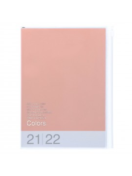 Diary 2022 A5 Vertical Type Zipped Recycled Cover 16 hours Pink - Colors Mark's