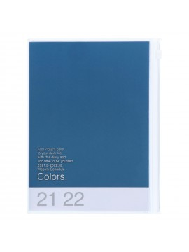 Diary 2022 A5 Vertical Type Zipped Recycled Cover 16 hours Blue - Colors Mark's