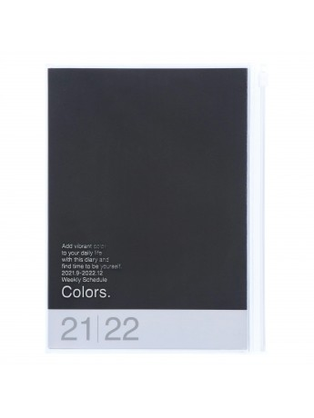 Diary 2022 A5 Vertical Type Zipped Recycled Cover 16 hours Black - Colors Mark's