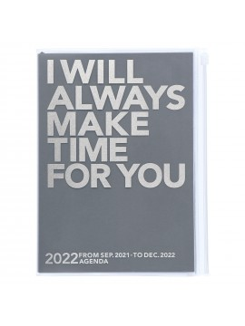 Diary 2022 A5 Vertical Type Zipped Recycled Cover 16 hours Gray - Make time Mark's