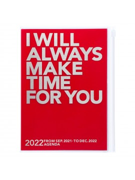 Diary 2022 A5 Vertical Type Zipped Recycled Cover 16 hours Red - Make time Mark's