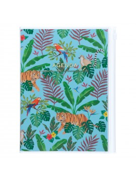 Diary 2022 A5 Vertical Type Zipped Recycled Cover 16 hours Turquoise - jungle Mark's