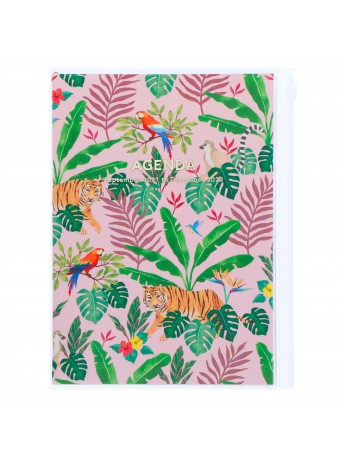Diary 2022 A5 Vertical Type Zipped Recycled Cover 16 hours Pink - Jungle Mark's