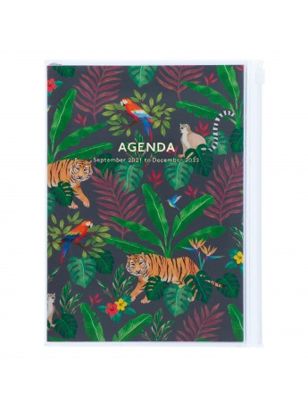 Diary 2022 A5 Vertical Type Zipped Recycled Cover 16 hours Black - Jungle Mark's