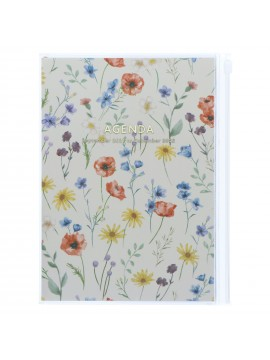 Diary 2022 A5 Vertical Type Zipped Recycled Cover 16 hours Ivory - Flower Mark's Flower