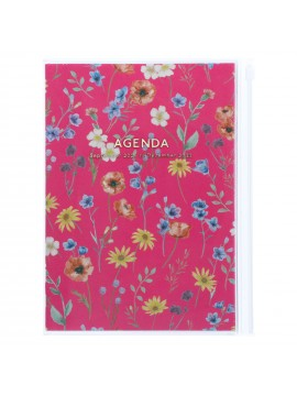 Diary 2022 A5 Vertical Type Zipped Recycled Cover 16 hours Magenta - Flower Mark's Flower