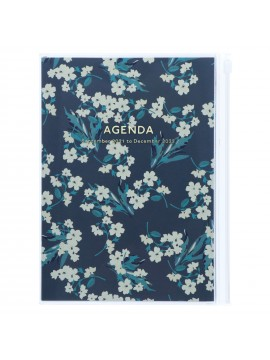 Diary 2022 A5 Vertical Type Zipped Recycled Cover 16 hours Navy - Flower Mark's Flower